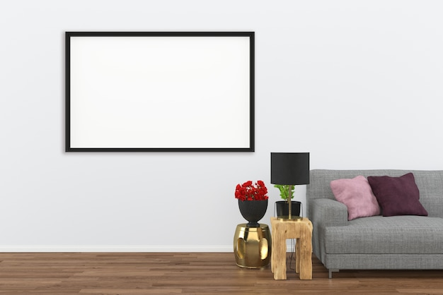 Premium Photo Gray Sofa Dark Wood Floor Living Room Interior 3d Rendering Background With Photo Frame