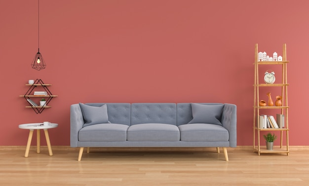 Gray sofa in living room Premium Photo