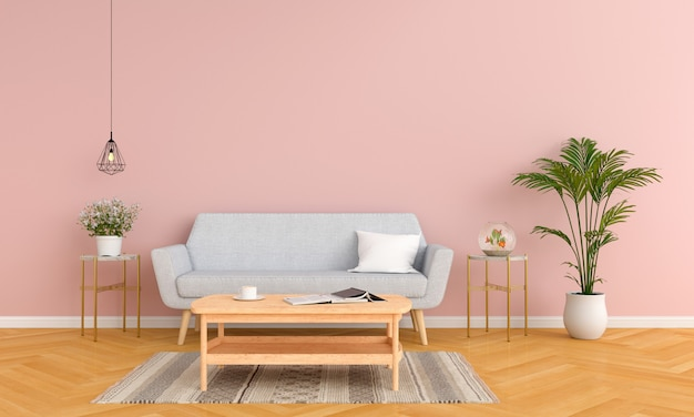 Gray sofa and table in pink living room Premium Photo