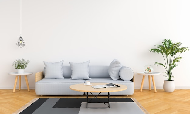 Gray sofa and table in white living room Premium Photo