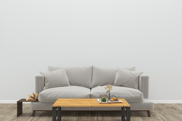 Gray Sofa Wooden Floor Wood Table Background Texture Interior Living Room Premium Photo