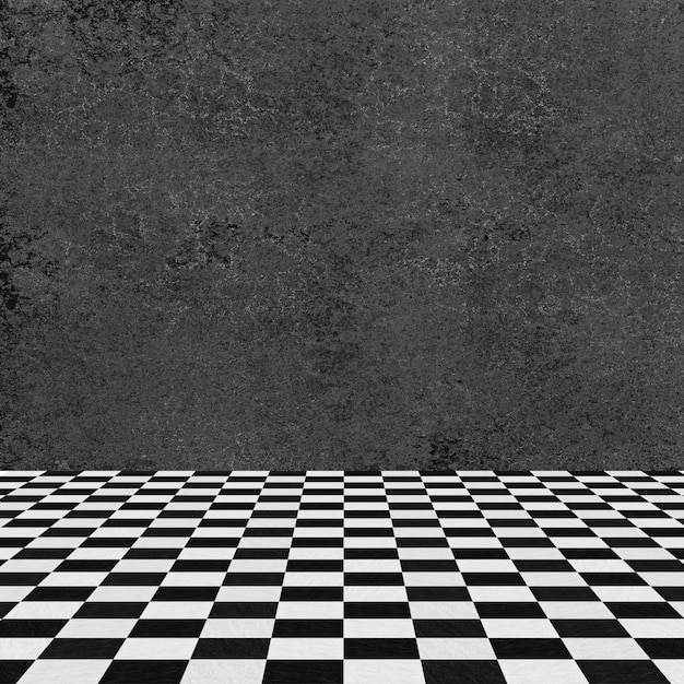 Gray wall and checkered floor Free Photo