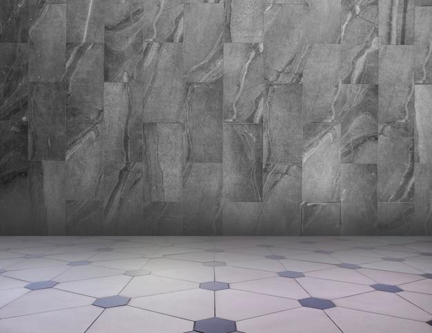 グレー/ホワイトの抽象的な幾何学的なテクスチャ背景。幾何学模様の床と花崗岩の壁。 Premium写真