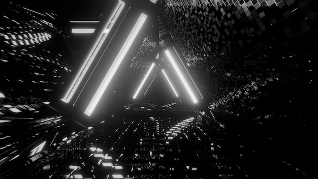 Grayscale futuristic abstract background with light effects Free Photo