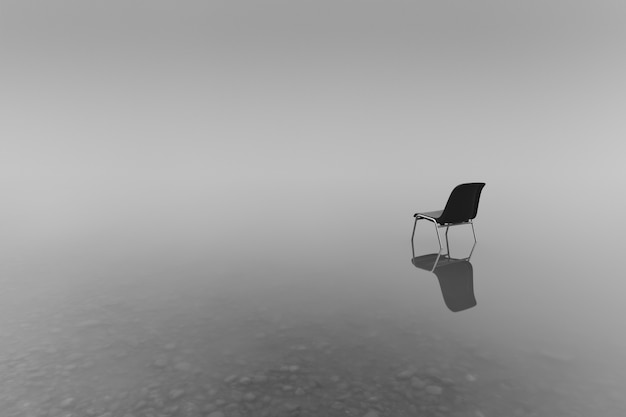 Grayscale shot of a chair on a small pond - concept of loneliness Free Photo
