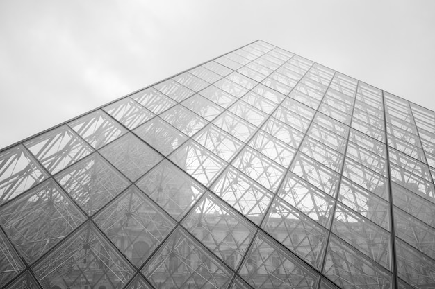 Grayscale shot of the louvre museum under a cloudy sky in paris, france Free Photo