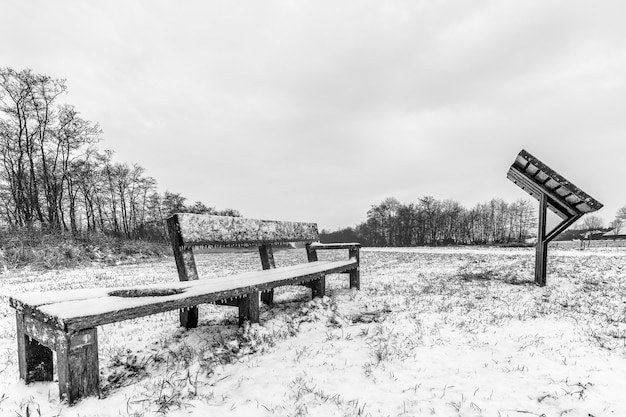 曇り空の下で雪に覆われたフィールド上のベンチのグレースケールショット 無料写真