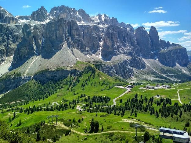 Great view of the top cadini di misurina range in national park tre cime di lavaredo. dolomites, Premium Photo