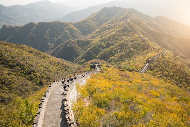 Great wall distant view compressed towers and wall segments autumn season Premium Photo