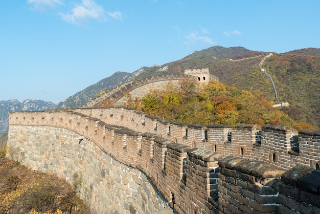 Great wall distant view compressed towers and wall segments Premium Photo