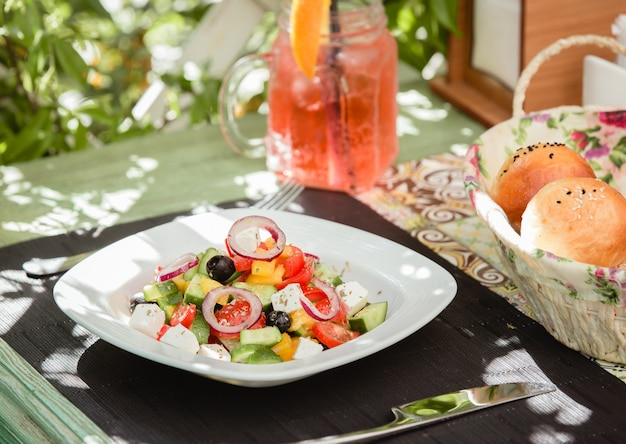 Greek salad with olive Free Photo