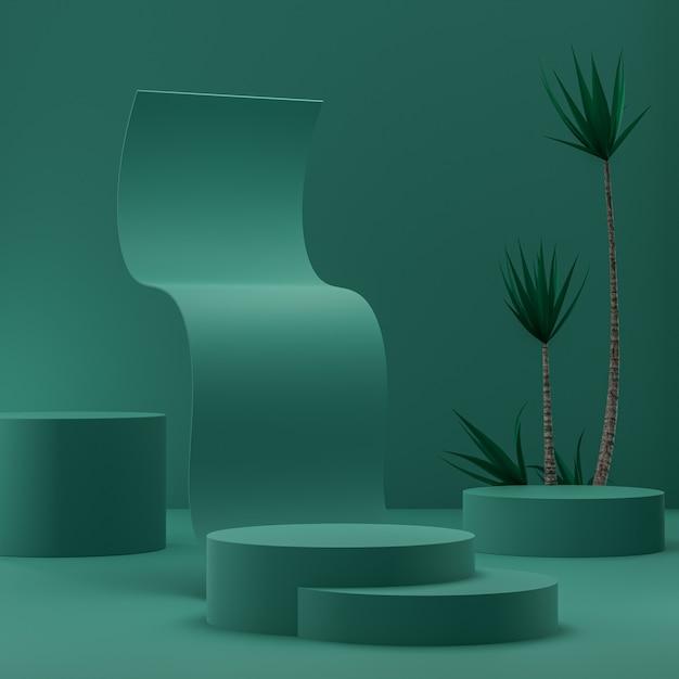 熱帯の木の3dレンダリングで製品を配置するための金の背景に緑の抽象的な表彰台 Premium写真