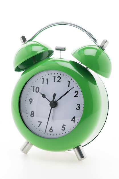 Green alarm clock with white background Photo