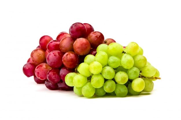 녹색과 붉은 포도 흰색 절연 무료 사진