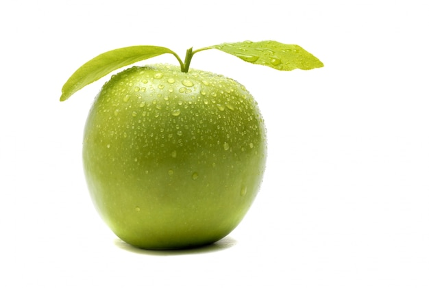 Green apple with leaves Free Photo