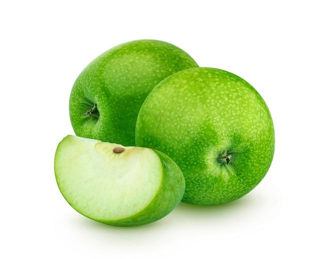 Green apples isolated, granny smith Premium Photo