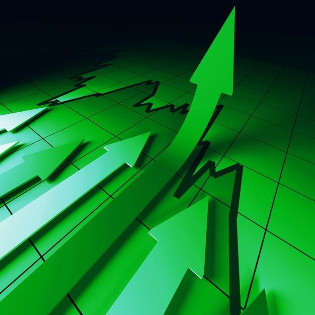 Зеленые стрелки на диаграмме отлично Premium Фотографии