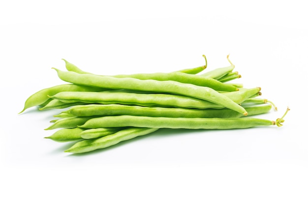 Green beans handful isolated on white background cutout Free Photo