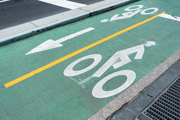 Green bicycle lane closeup Free Photo