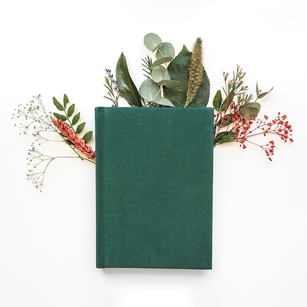 Green book and leaves Free Photo