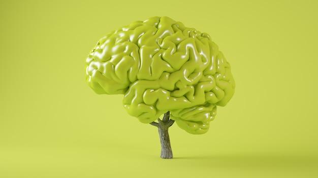Зеленый мозг дерево концепция 3d-рендеринга Premium Фотографии