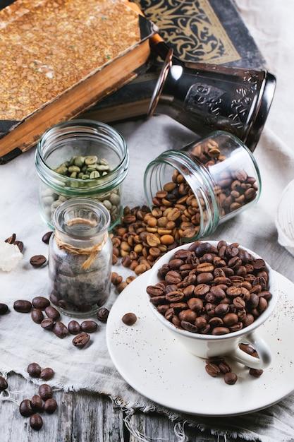 Green, brown and black coffee Premium Photo