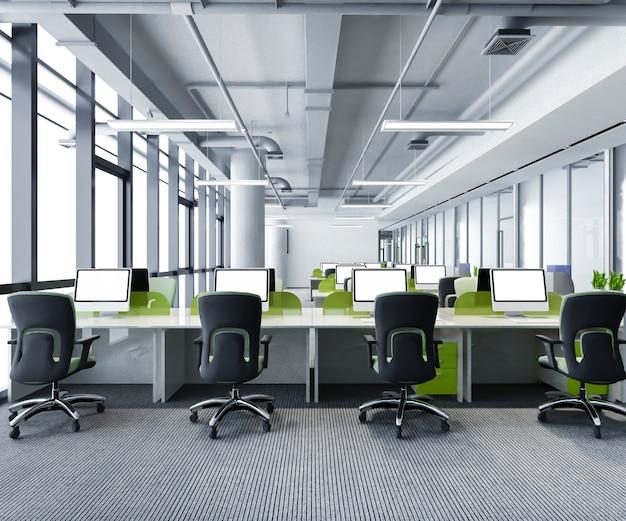 緑のビジネス会議とオフィスビルの作業室 Premium写真