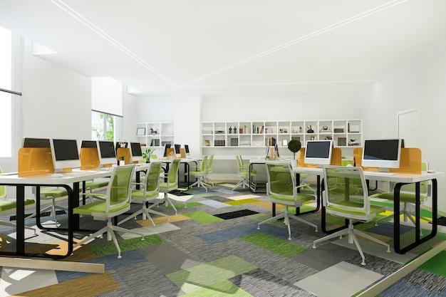 Incontro di lavoro verde e sala di lavoro in edificio per uffici con libreria Foto Gratuite