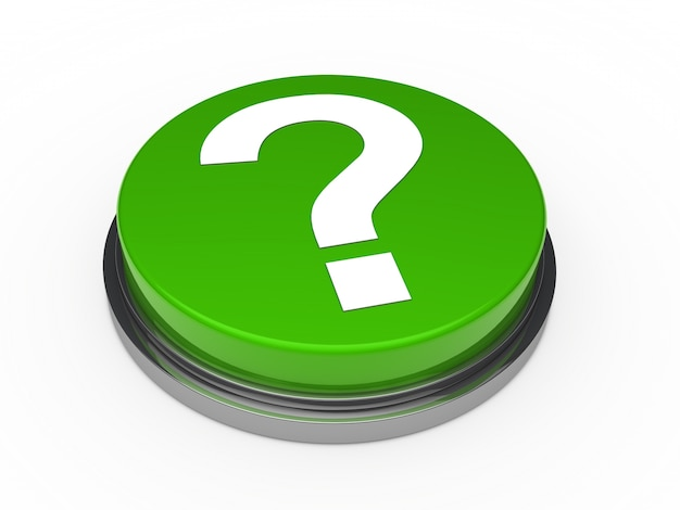 Green button with a question mark Free Photo