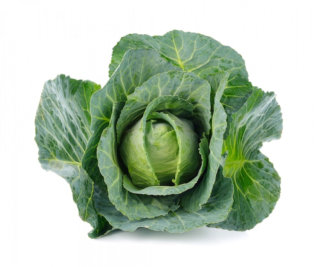 Green cabbage isolated on white Premium Photo