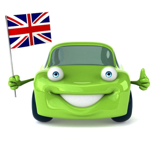 Зеленый автомобиль - 3d иллюстрация Premium Фотографии