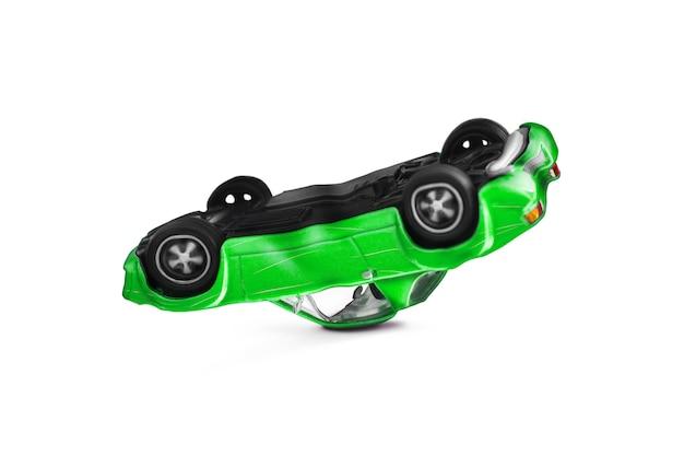 Green car accident with damage scene Premium Photo