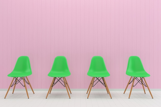 Green chair pink pastel wall white wood floor background texture mouckup Premium Photo