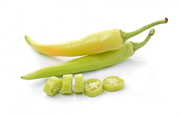 Green chilli pepper  on white isolated . Premium Photo