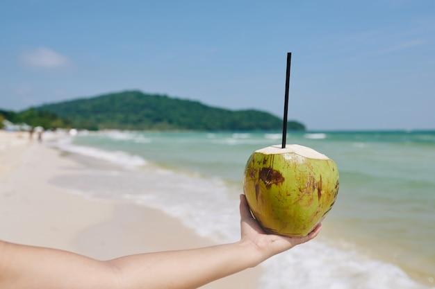 ストローで緑のココナッツ Premium写真