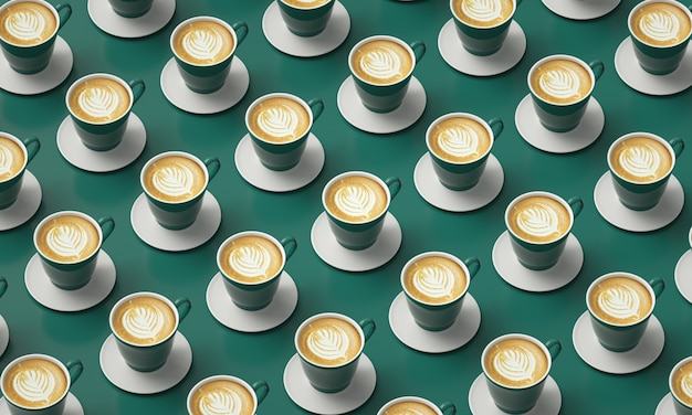 Green cups of coffee placed in a table. picture for coffee shop decoration. Premium Photo