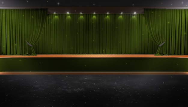 Green curtain and a spotlight. festival night show poster Premium Photo