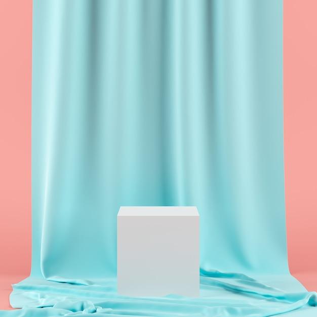 Зеленый занавес с подиумом белого цвета геометрической формы для продукта. Premium Фотографии