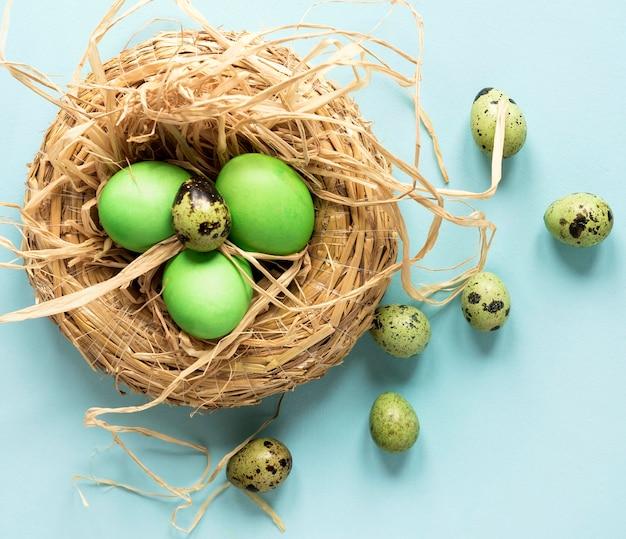 緑のイースターチキンとウズラの卵 無料写真