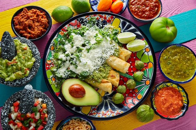 Green enchiladas mexican food with guacamole Premium Photo