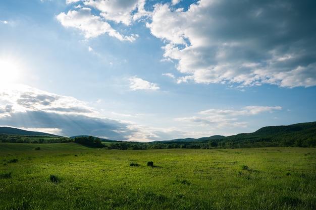 Campo verde con il cielo nuvoloso del mattino con le colline Foto Gratuite