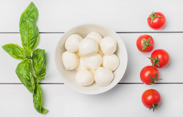 Green fresh basil leaves and red tomatoes with bowl of mozzarella cheese balls Free Photo