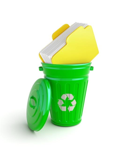 ドキュメントと緑のゴミ箱 Premium写真