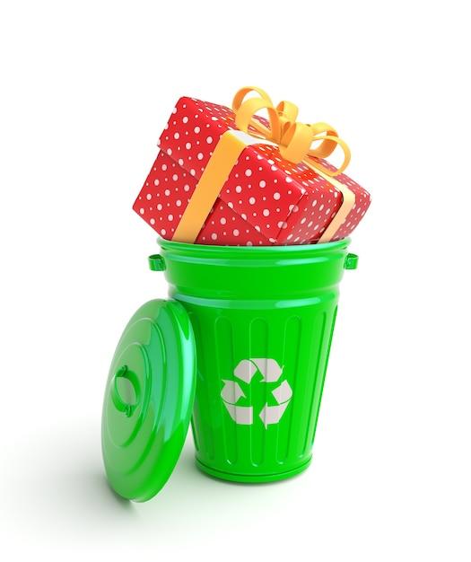 現在の緑のゴミ箱 Premium写真