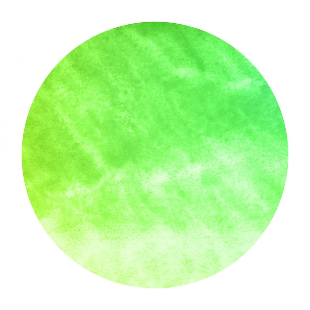 Green hand drawn watercolor circular frame background texture with stains Premium Photo