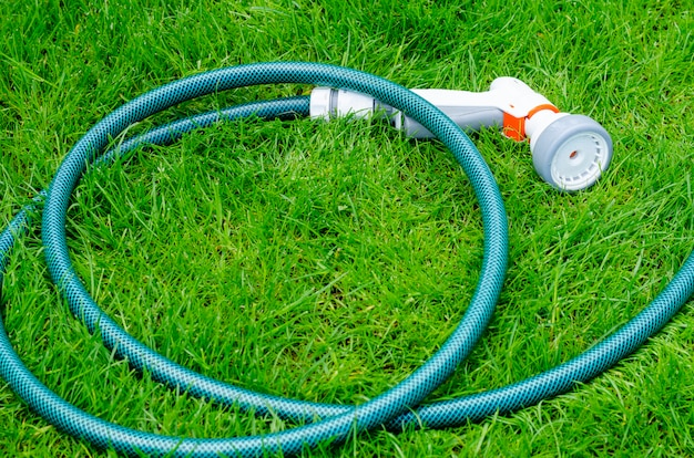 Green hose for watering lies on grass, lawn Premium Photo