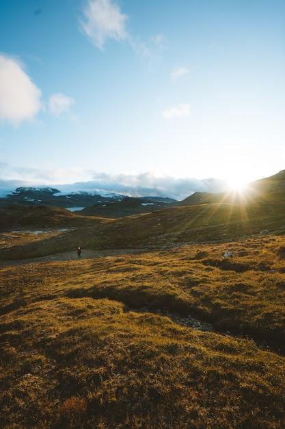 Зеленая земля в окружении высоких скалистых гор в финсе, норвегия Бесплатные Фотографии