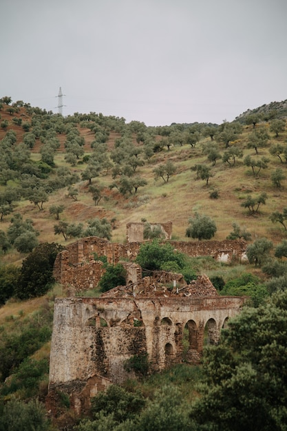 Paesaggio verde con alte montagne e rovine di edifici distrutti Foto Gratuite