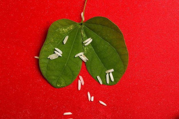 Green leaf and rice composition for indian festival dussehrae Premium Photo