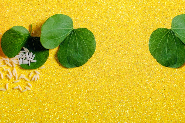 Green leaf and rice Premium Photo